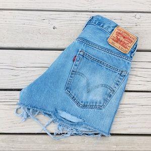 Levi's cut off distressed jean shorts